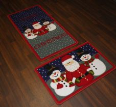 Christmas Novelty Santa MatS + Doormat 57cm x 110cm set of 2 Snowflake Red/Blue